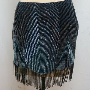 ISO Haute Hippie navy beaded fringe skirt in sz6